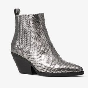 Michael Kors Sinclair Metallic Leather Ankle Boots